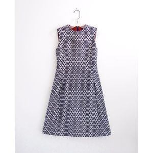 Vtg 60s Mod Blue White Jacquard A-Line Dress fit S